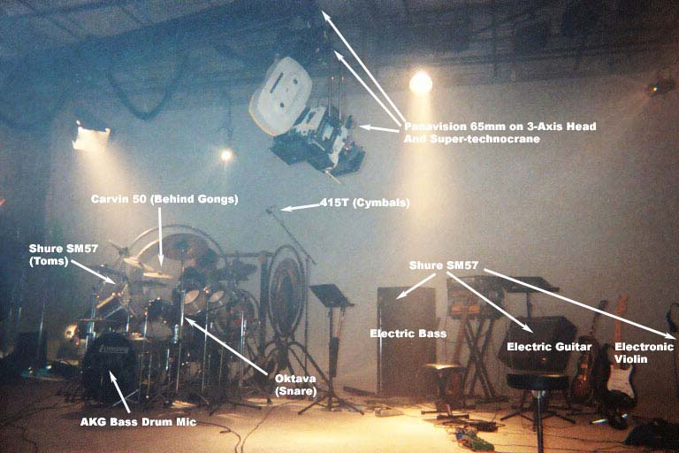 "Mic setup for 65mm ""Movies for your Ears"" featuring a 40 piece drum set"